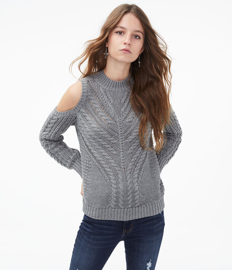 Cable-Knit Cold-Shoulder Sweater