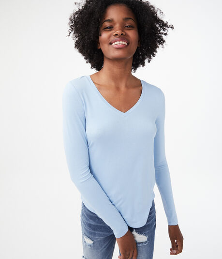 Long Sleeve Seriously Soft Solid V-Neck Tee