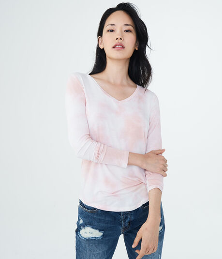 Long Sleeve Seriously Soft Tie-Dye V-Neck Tee