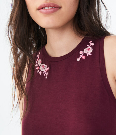 Embroidered Flower Tank***