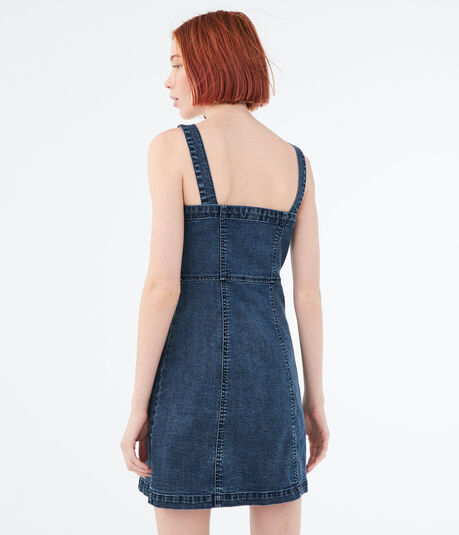 Solid Button-Front A-Line Denim Dress
