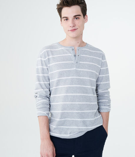 Long Sleeve Striped Rib-Knit Henley