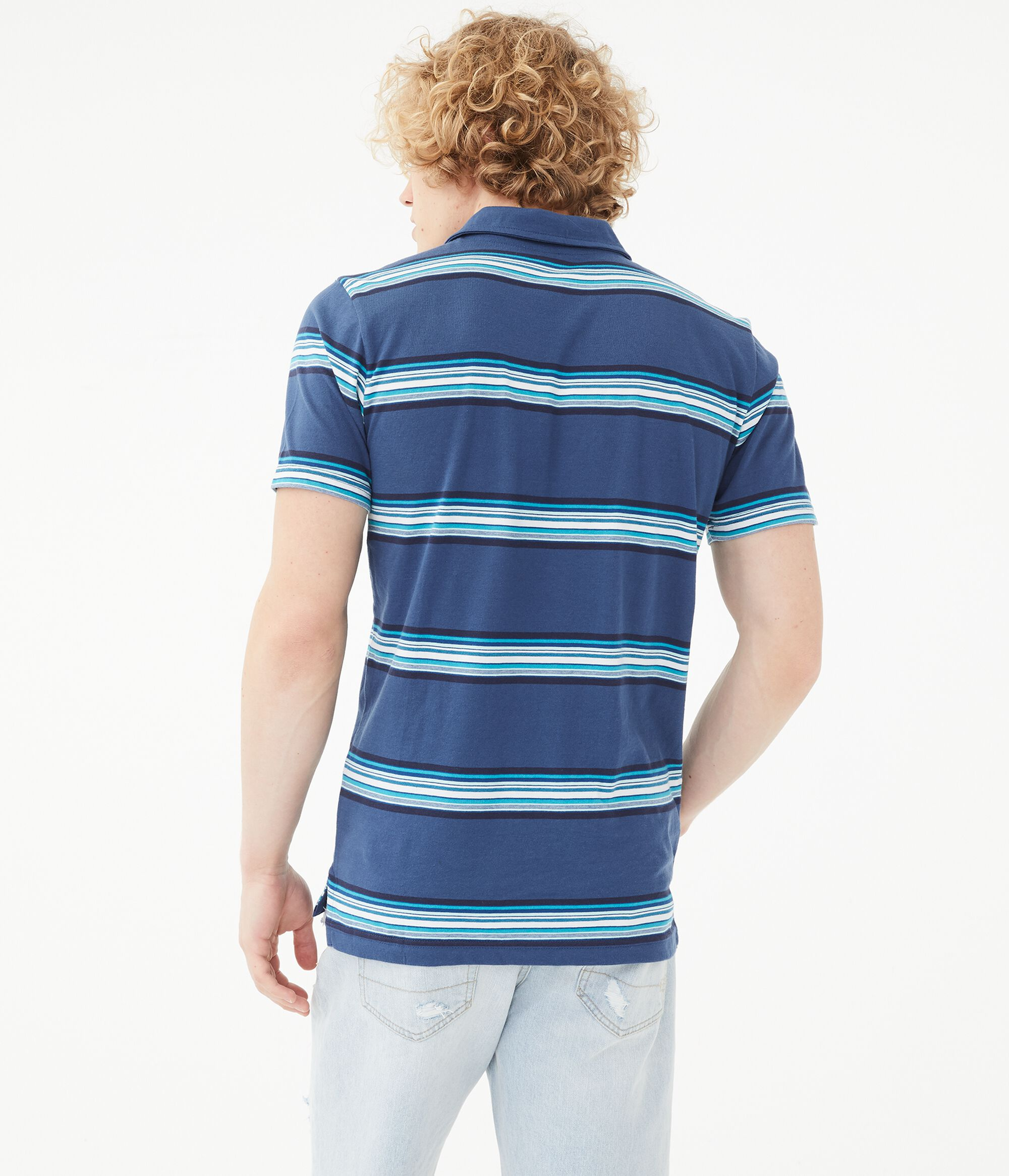 f NWT AEROPOSTALE embroidered Jersey Striped Polo
