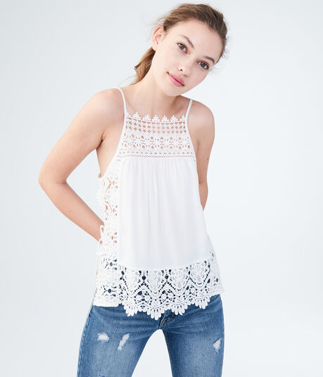 Solid Lacy Tank