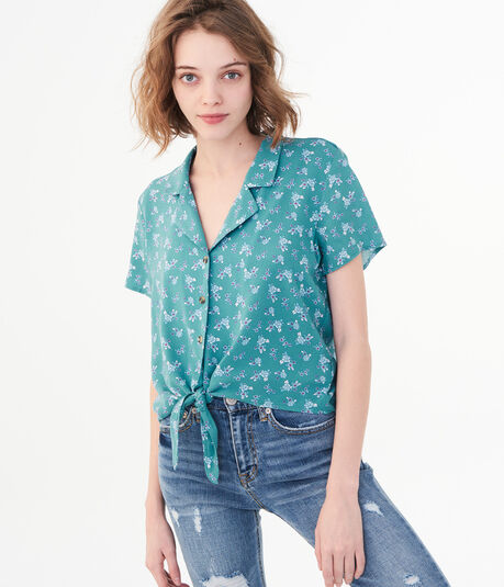 Floral Tie-Front Woven Camp Shirt