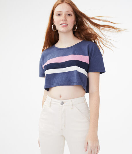 Chest Stripe Crop Tee