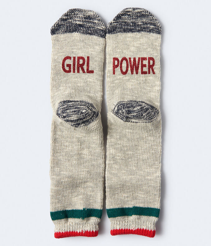 Girl Power Marled Crew Socks***
