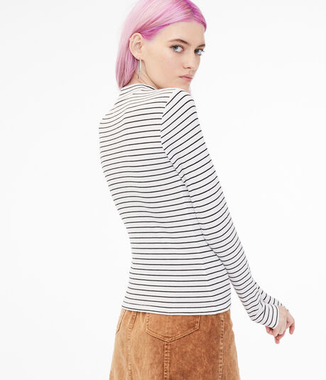 Long Sleeve Striped Mock-Neck Tee