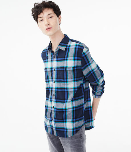 Long Sleeve Multi-Plaid Button-Down Shirt