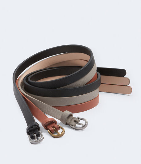 Faux Leather Skinny Belt 3-Pack