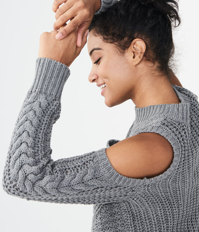 Solid Cable Knit Cold Shoulder Sweater by Aeropostale