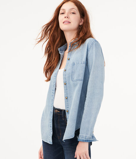 Long Sleeve Denim Button-Down Shirt