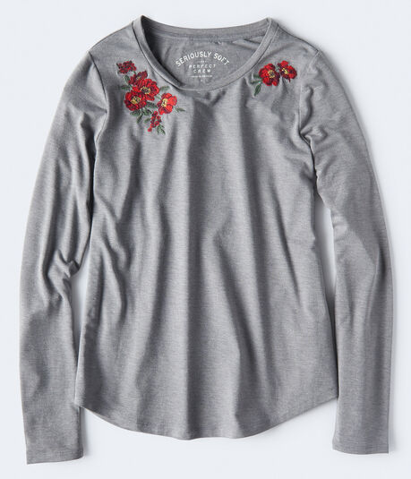 Long Sleeve Seriously Soft Embroidered Floral Tee