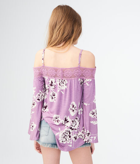 Long Sleeve Floral Crochet Cold-Shoulder Top