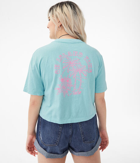 Island Time Cropped Boxy Graphic Tee***
