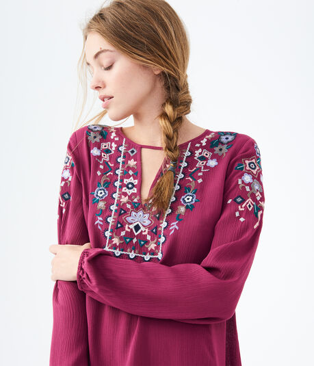 Embroidered Notch-Neck Peasant Dress