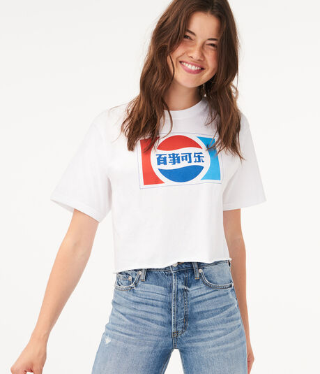 Chinese Pepsi Crop Graphic Tee