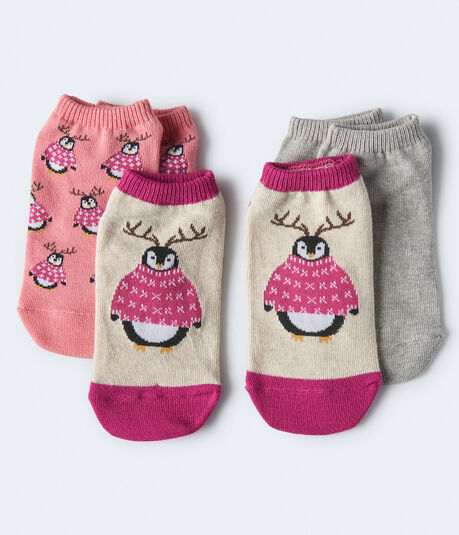 3-Pack Antler Penguin & Solid Ankle Socks***