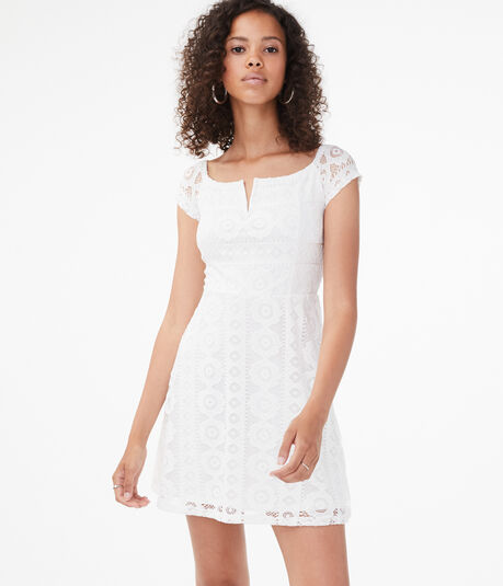 Lace V-Wire Off-The-Shoulder Dress