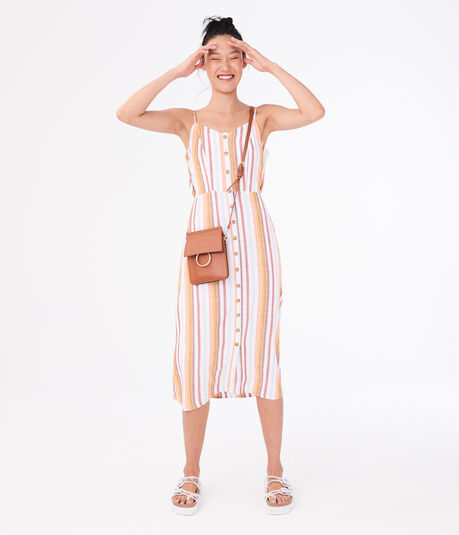 Striped Button-Front Midi Dress***