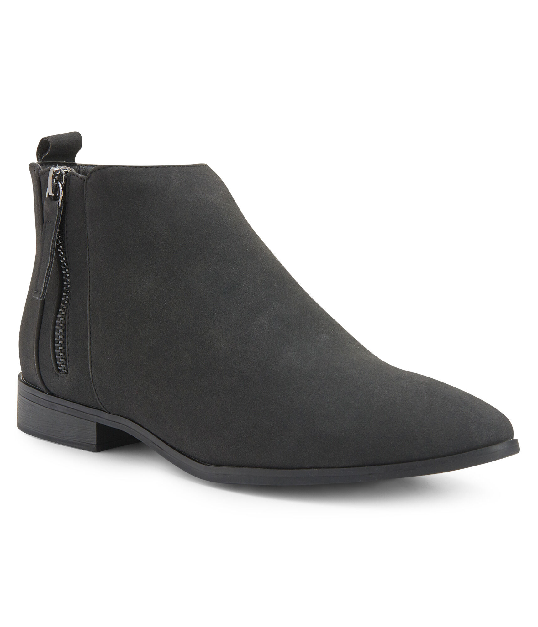 f06d59475fb64 ... Black Faux Suede Ankle Booties ...