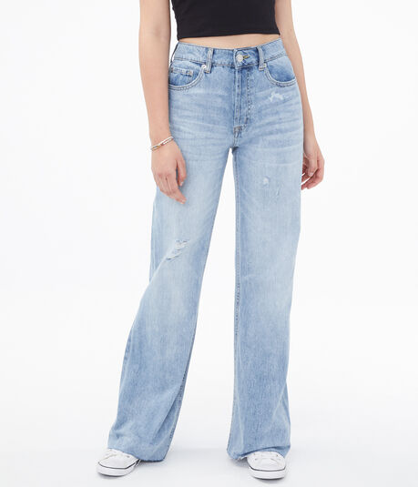 Real Denim High-Rise Wide-Leg Skater Jean***