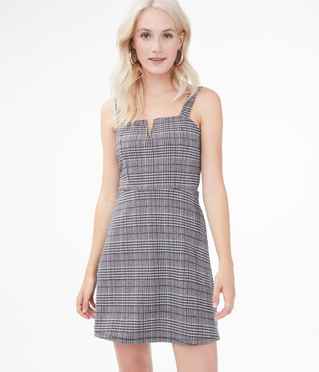 Houndstooth V-Wire Fit & Flare Dress