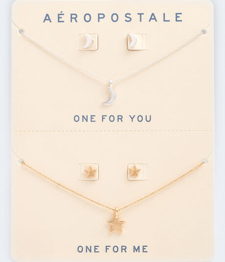 Best Friends Celestial Necklace & Stud Earring Set