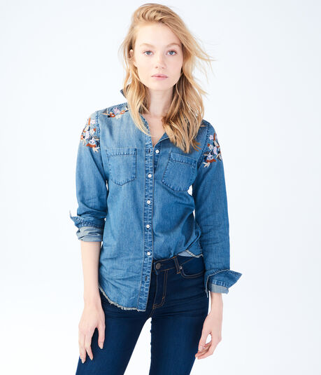 Long Sleeve Embroidered Chambray Woven Shirt