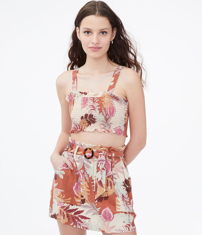 Tropical Leaves Smocked Cropped Tank