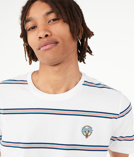 Surf Patch Striped Crew Tee