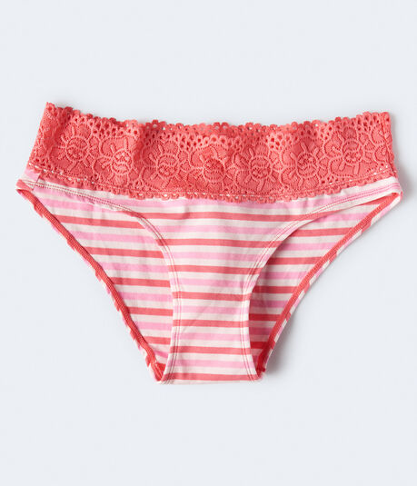 LLD Striped Lace-Trim Hipster