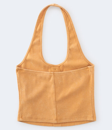 Ribbed Button-Front Cropped Halter