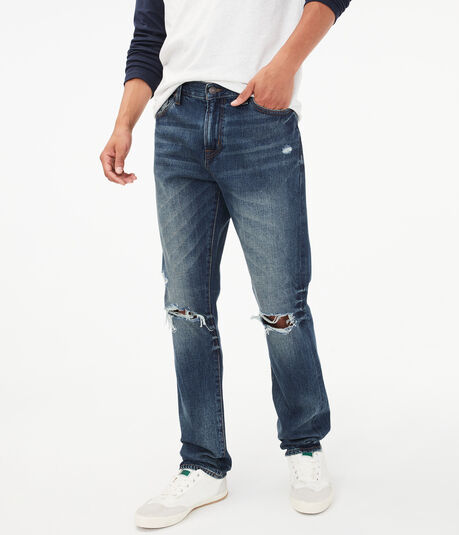 Real Denim Destroyed Slim Straight Jean