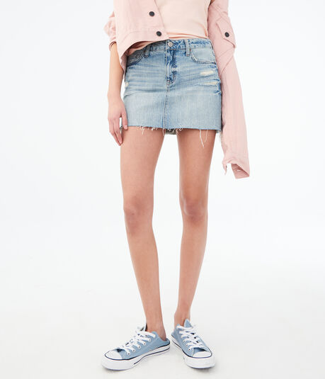 Light Wash Destroyed Denim Mini Skirt
