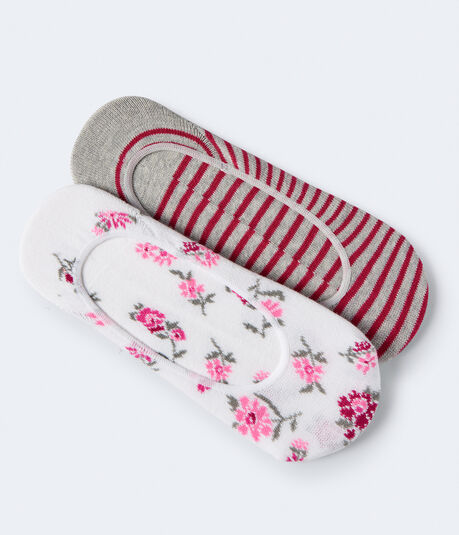 2-Pack Floral & Stripe No-Show Socks