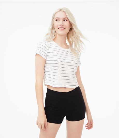 Striped '90s Slim Kate Cropped Crew Tee