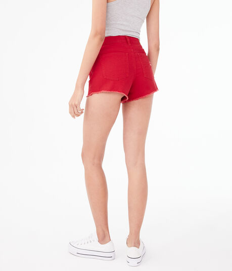 High-Rise Color Wash Denim Shorty Shorts