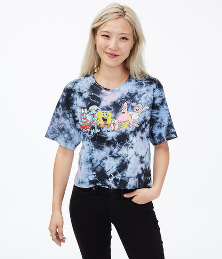 SpongeBob SquarePants Tie-Dye Cropped Graphic Tee