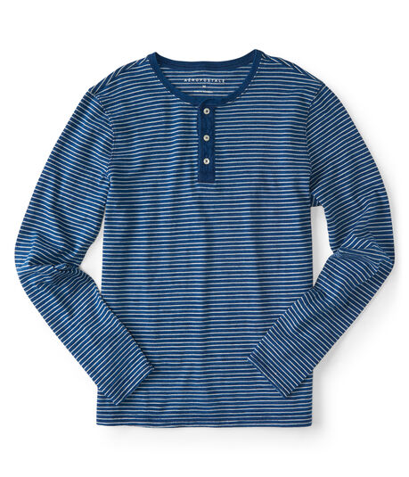 Long Sleeve Thin Stripe Henley