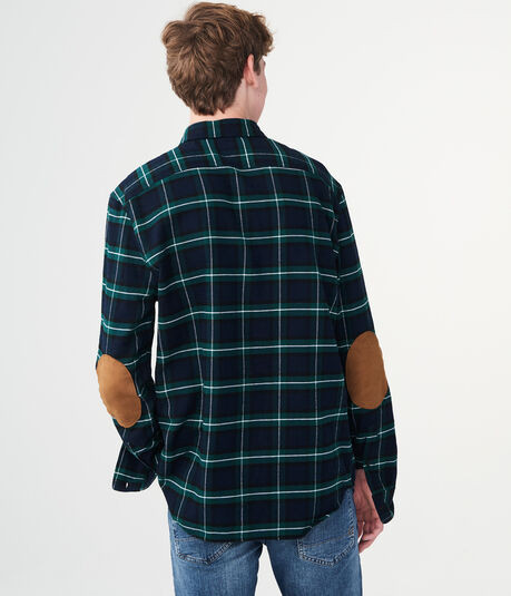 Long Sleeve Plaid Elbow Patch Woven Shirt