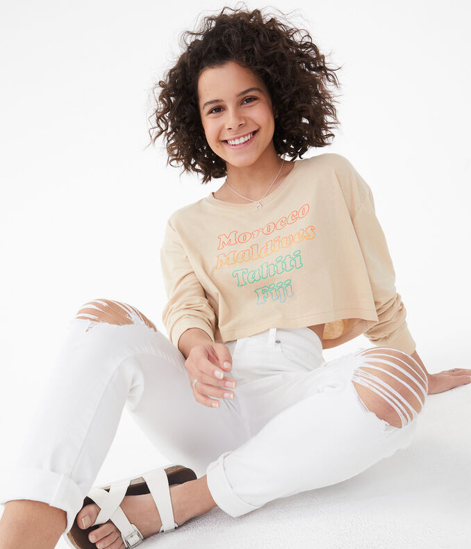 Long Sleeve Travel List Super-Cropped Graphic Tee***
