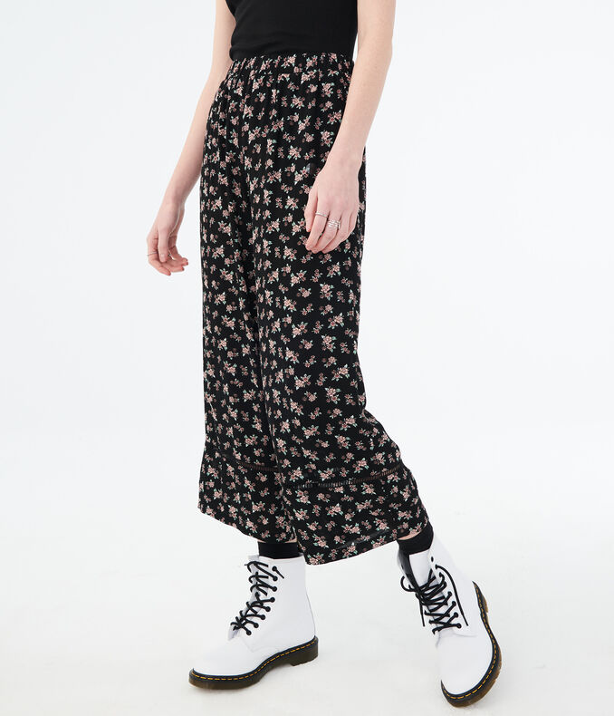 Floral Wide-Leg Crop Pants