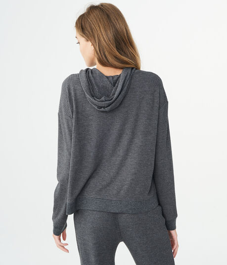 LLD Long Sleeve Solid Waffle-Knit Hooded Top