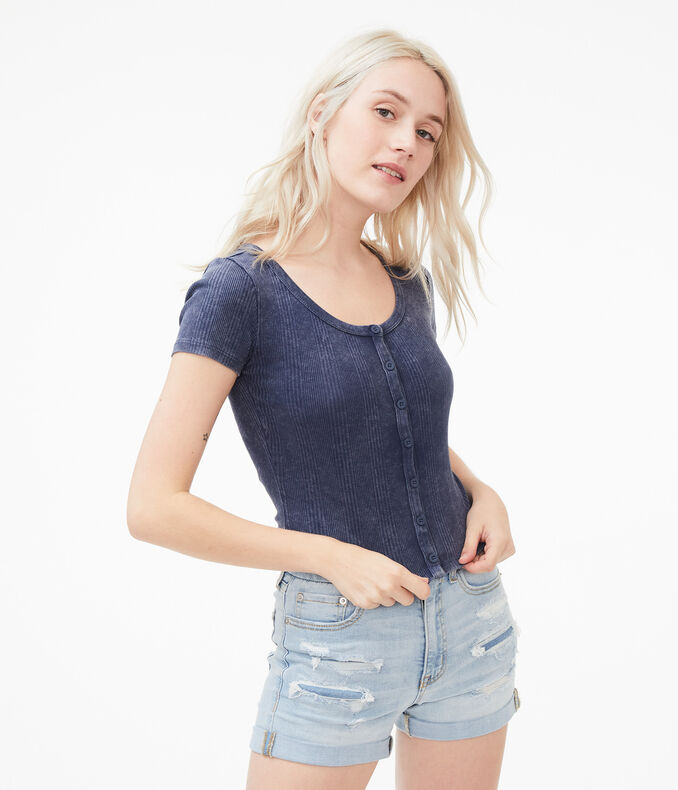 Washed Button-Front Shrunken Tee