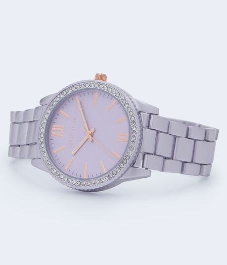 Tonal Metal Rhinestone Bezel Analog Watch