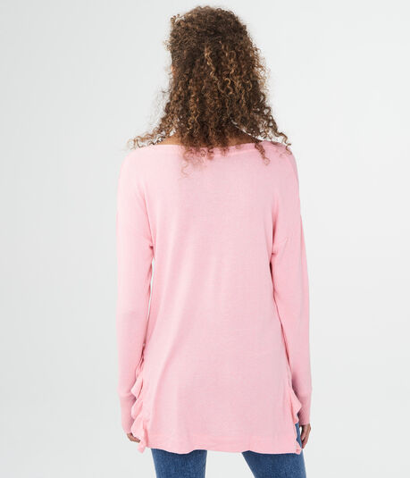 LLD Long Sleeve Side Ruffle V-Neck Top***