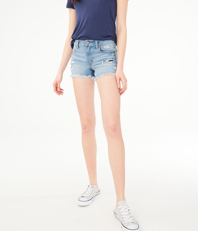 Flex Effects High-Rise Rip & Repair Denim Midi Shorts