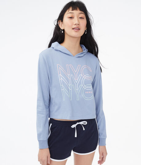 Repeating NYC Cropped Hooded Tee