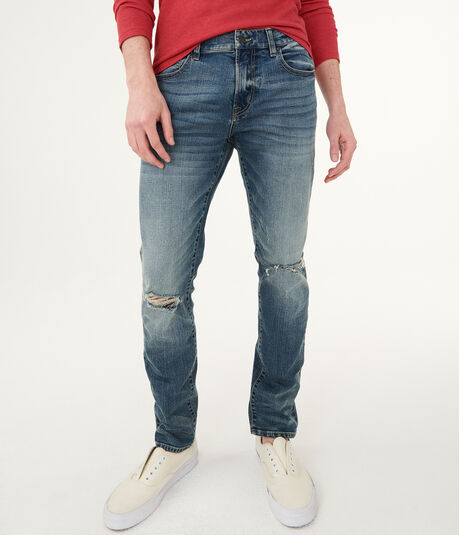 Skinny Medium Wash Destroyed Stretch Jean***